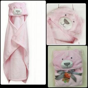BK003••ผ้าห่มห่อตัวเด็ก•• / น้องหมีสีชมพู