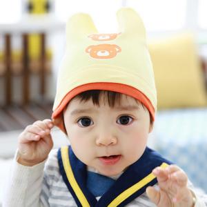 HT448••หมวกเด็ก•• / หมวกบีนนี่-หมีคู่ (สีเหลือง)