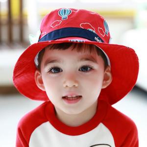HT495••หมวกเด็ก•• / หมวกปีกกว้าง-บอลลูน (สีแดง)