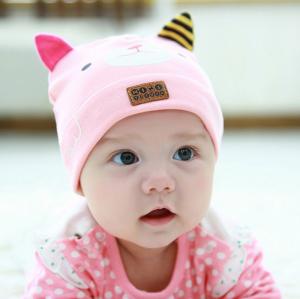 HT422••หมวกเด็ก•• / หมวกบีนนี่-หมียิ้ม (สีชมพูอ่อน)