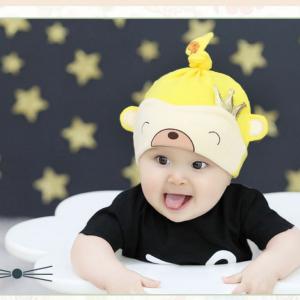 HT406••หมวกเด็ก•• / หมวกบีนนี่-หมีมงกุฎ (สีเหลือง)
