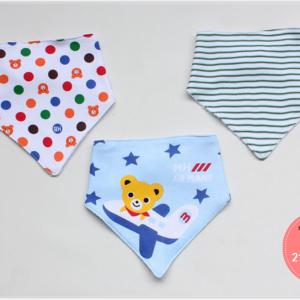 ผ้าซับน้ำลายสามเหลี่ยม ผ้ากันเปื้อนเด็ก / เซตหมีขับเครื่องบิน (3 ผืน/เซต)