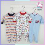 ชุดหมี sleep suit แพ็ค 3 ชุด size 0-3 เดือน