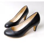 [พร้อมส่ง] ไซส์ 47 รองเท้าคัชชูส้นเตี้ย สีดำ ทรงหัวมน ส้น 1.5 นิ้ว KR0271