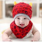 เซตหมวกเด็ก+ผ้ากันเปื้อน - สีแดง