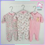 ชุดหมีหุ้มเท้า sleep suit แพ็ค 3 ชุด size 3-6 เดือน