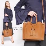 CHARLES & KEITH TASSEL DRAWSTRING BAG สีน้ำตาล