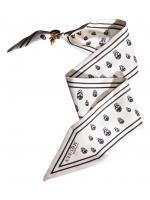 ALEXANDER MCQUEEN SKULL PRINT SILK TIE BRACELET SCARF (NO CHARM) สีขาวลายหัวกะโหลก งานเเบรนด์ Alexander McQueen