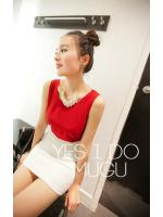 สินค้าขายดี!!! Korean Double-Layer Chiffon Vest Tops เสื้อผ้าผู้หญิง เสื้อเเขนกุด เสื้อกล้าม ผ้าชีฟองสีแดง ไซส์ XS พร้อมส่ง
