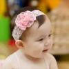 ผ้าคาดผมเด็กอ่อน โบว์ดอกไม้สีชมพูสวย มีมุกประดับ