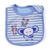 ผ้ากันเปื้อน Lastest Kids ลายริ้วสีฟ้า ปักรูปช้างหมีกระต่าย