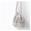 Zara Women Bucket Bag With Leather Detail