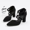 รองเท้าส้นตึกไซส์ใหญ่ Strappy D'Orsay สีดำ รุ่น KR0574