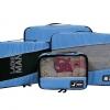 ชุดจัดกระเป๋าเดินทางคุณภาพดีมาก 4 ใบต่อชุด ใส่เสื้อผ้า ชั้นใน ถุงเท้า เข็มขัด (ฺBlue) (Ecosusi 4 Set Packing Cubes Travel Organizers)