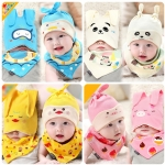 หมวกและผ้ากันเปื้อนเด็กอ่อนผ้ายืด 2 หูยาว แฟชั่นลายสัตว์น้อยสุด Chic