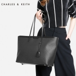 CHARLES & KEITH TEXTURED TOTE BAG 2017 พร้อมส่ง 3 สี ดำ ครีม น้ำตาล