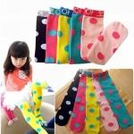 ถุงเท้ายาวเด็กหญิง 2-8 ปี ลายจุด แฟชั่นเกาหลี สีสันสดใสน่ารัก