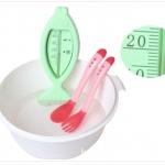 ช้อนซิลิโคน เปลี่ยนสีตามอุณหภูมิอาหาร NanaBaby สีแดง (ไม่รวมส้อม)