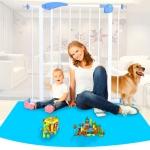 ประตูกั้นบันไดเด็กและสัตว์เลี้ยง โครงเหล็กแข็งแรง ไม่ต้องเจาะผนัง ส่งฟรี