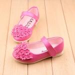 รองเท้าคัทชูเด็กหญิงสีชมพูบานเย็นประดับพุ่มดอกไม้น่ารัก Size 21-25
