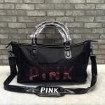 Victoria's Secret PINK Bling Duffle Bag กระเป๋าเดินทางสะพายใบใหญ่ ผ้าไนลอนหนา ปักเลื่อม