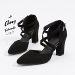 รองเท้าส้นตึกไซส์ใหญ่ 40 Strappy D'Orsay สีดำ รุ่น KR0574