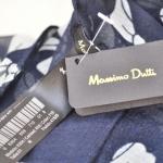 MASSIMO DUTTI SCARF ผ้าพันคอ Massimo Dutti สีน้ำเงินลายโบว์สีขาว ผ้า COTTON