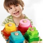 ของเล่นบล็อคไม้ สวมหลักจิ๊กซอว์ เต่าน้อย 4 ตัว เสริมพัฒนาการ