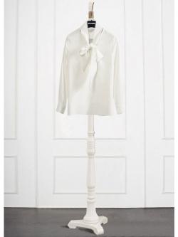 KOREAN WHITE BOW SHIRT เสื้อเชิ้ตเเขนยาวสีขาว คอผูกโบว์ สวย เก๋ พร้อมส่ง สินค้านำเข้าอย่างดี