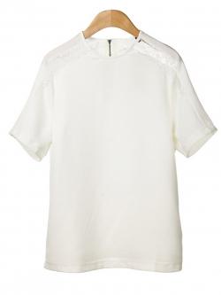 KOREAN CHIFFON SHORT-SLEEVE TOPS เสื้อผ้าผู้หญิงนำเข้า เสื้อเเขนสั้น สีขาว ช่วงบ่าหว้า ผ้าลูกไม้ งานเกาหลี พร้อมส่ง