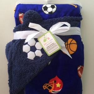 BK051••ผ้าห่มเด็ก•• / ฟุตบอล-น้ำเงิน (ลายปัก)