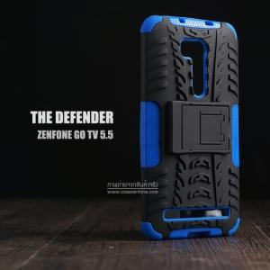 """เคส Zenfone GO 5.5"""" (ZB551KL DTAC Edition เท่านั้น) เคสบั๊มเปอร์ Defender กันกระแทก มีขาตั้งในตัว สีน้ำเงิน"""