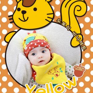 AP135••เซตหมวก+ผ้ากันเปื้อน•• / [สีเหลือง] กระรอก
