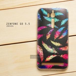 เคส Zenfone GO 5.5 นิ้ว (ZB552KL) เคสนิ่ม TPU พิมพ์ลาย แบบที่ 12 colorful feather