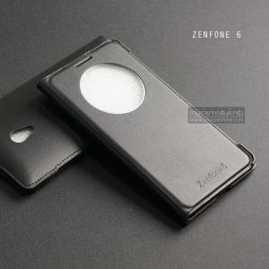 เคส Zenfone 6 เคสฝาพับบางพิเศษ ลายหนัง สีดำ