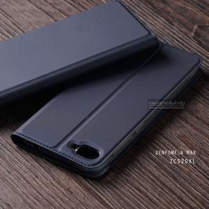 """เคส Zenfone 4 Max 5.2"""" (ZC520KL) เคสฝาพับเกรดพรีเมี่ยม (เย็บขอบ) พับเป็นขาตั้งได้ สีกรมท่า"""