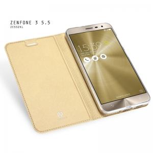 เคส Zenfone 3 (ZE552KL) 5.5 นิ้ว เคสฝาพับเกรดพรีเมี่ยม (เย็บขอบ) พับเป็นขาตั้งได้ สีทอง
