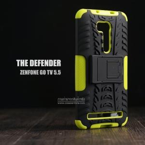 """เคส Zenfone GO 5.5"""" (ZB551KL DTAC Edition เท่านั้น) เคสบั๊มเปอร์ Defender กันกระแทก มีขาตั้งในตัว สีเขียวอ่อน"""