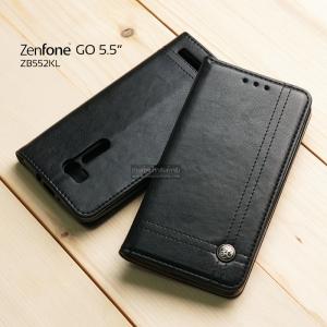 เคส Zenfone GO 5.5 นิ้ว (ZB552KL) เคสฝาพับเกรดพรีเมี่ยม ลายหนัง พร้อมช่องใส่บัตรด้านใน (พับเป็นขาตั้งได้) สีดำ