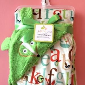 BK064••ผ้าห่มเด็ก•• / จิ้งจอก-เขียว (ลายปัก)