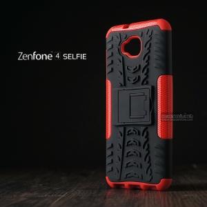เคส Zenfone 4 Selfie ( ZD553KL ) กรอบบั๊มเปอร์ กันกระแทก Defender สีแดง (เป็นขาตั้งได้)