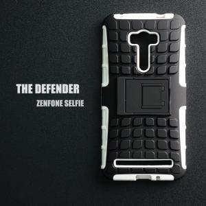 เคส ZenFone Selfie (ZD551KL) เคสบั๊มเปอร์ กันกระแทก Defender สีขาว (มีขาตั้ง)