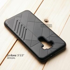 """เคส Zenfone 3 5.5"""" (ZE552KL) เคสนิ่ม HYBRID 2 ชั้น ขอบหนาลดแรงกระแทก สีดำ"""