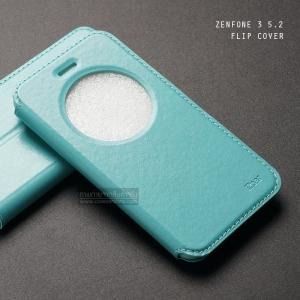 เคส Zenfone 3 ZE520KL (5.2 นิ้ว) เคสฝาพับหนัง PU แบบพิเศษ FULL FUNCTION ช่องกว้างพิเศษ รองรับการทำงานได้สมบูรณ์แบบ เขียวอมฟ้า
