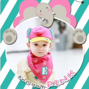 AP059••เซตหมวก+ผ้ากันเปื้อน•• / [สีชมพู] ช้างน้อย