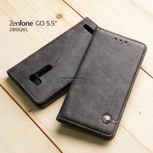เคส Zenfone GO 5.5 นิ้ว (ZB552KL) เคสฝาพับเกรดพรีเมี่ยม ลายหนัง พร้อมช่องใส่บัตรด้านใน (พับเป็นขาตั้งได้) สีเทา