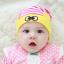 HT438••หมวกเด็ก•• / หมวกบีนนี่-ดวงตา (สีชมพู/ขอบเหลือง) thumbnail 1