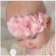 ผ้าคาดผมทารกแสนน่ารัก สายดอกไม้ชีฟองเกสรมุกเพชร thumbnail 2