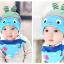 AP130••เซตหมวก+ผ้ากันเปื้อน•• / [สีฟ้า] ปลา thumbnail 3
