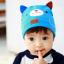 HT421••หมวกเด็ก•• / หมวกบีนนี่-หมียิ้ม (สีฟ้าเข้ม) thumbnail 1